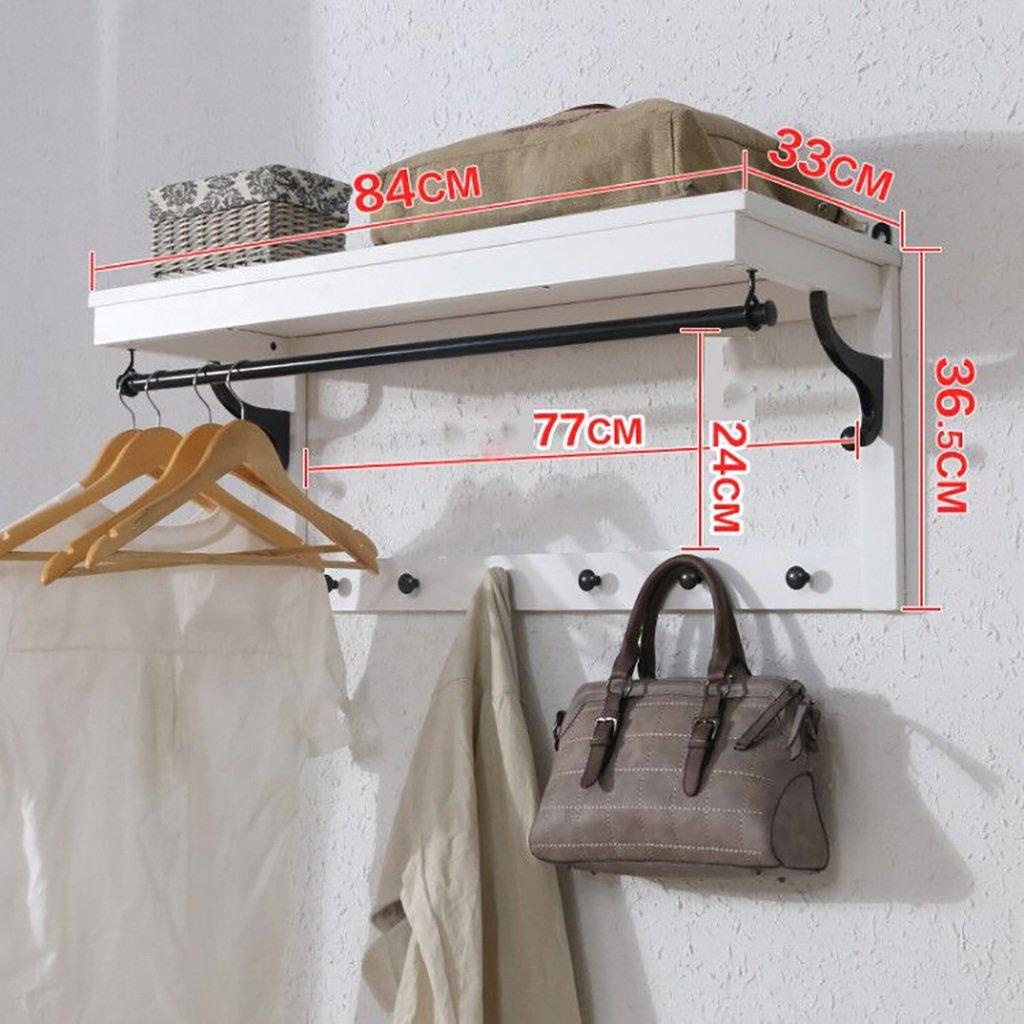 Estanterías murales, creativos estantes de Pared multifuncionales, Perchas de Pared, Perchero de Madera Maciza (Color : Blanco)