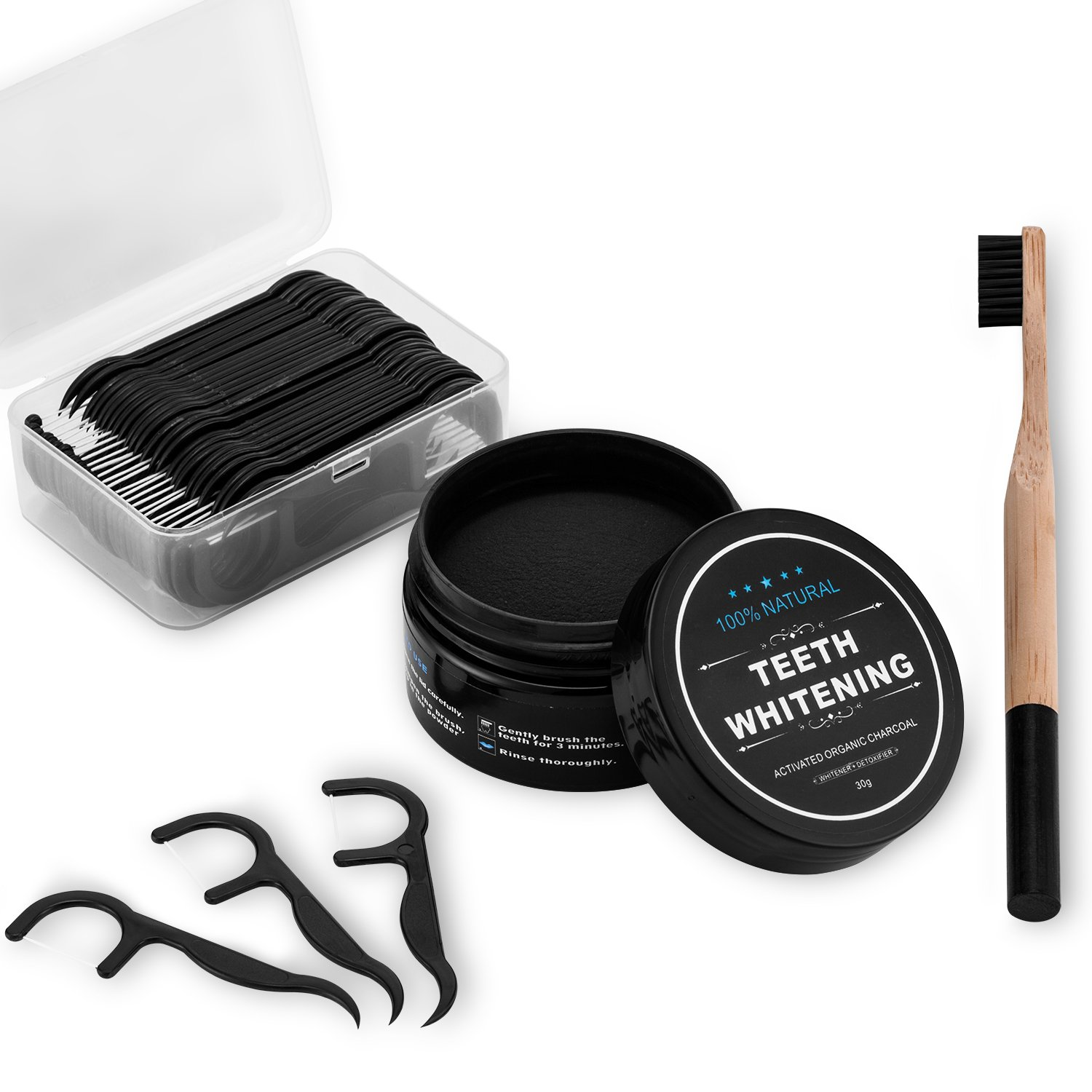 Natural Teeth Whitening Charcoal Powder (30g) + Bamboo Toothbrush + Dental Floss Picks (45 pcs) for Brighter and Healthier Teeth