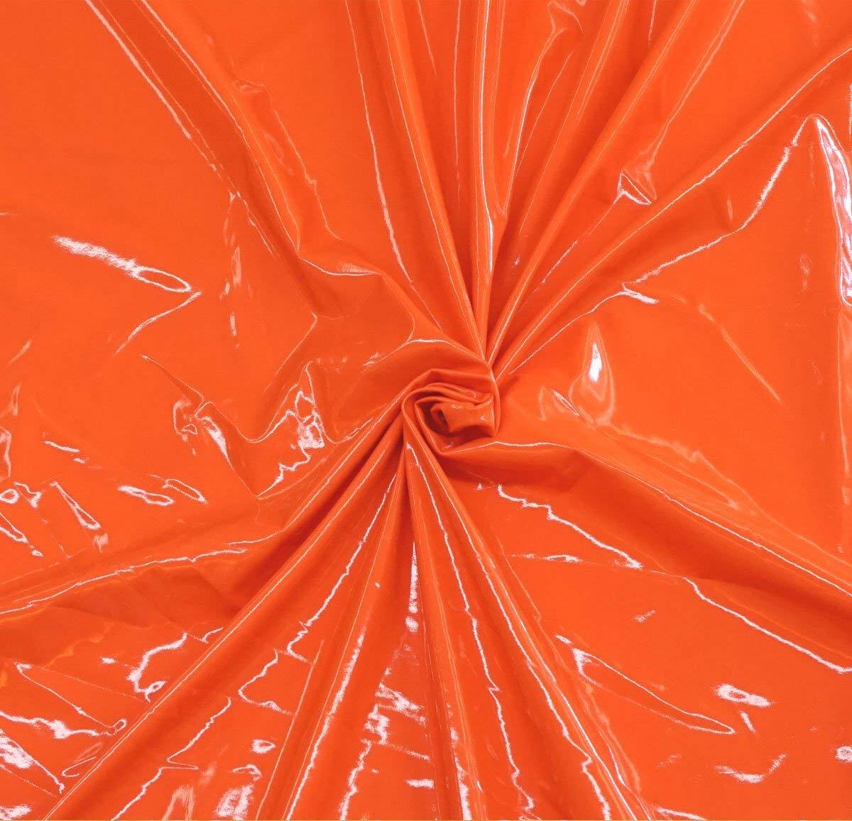 4 Way Stretch Shiny Orange Vinyl PVC PU