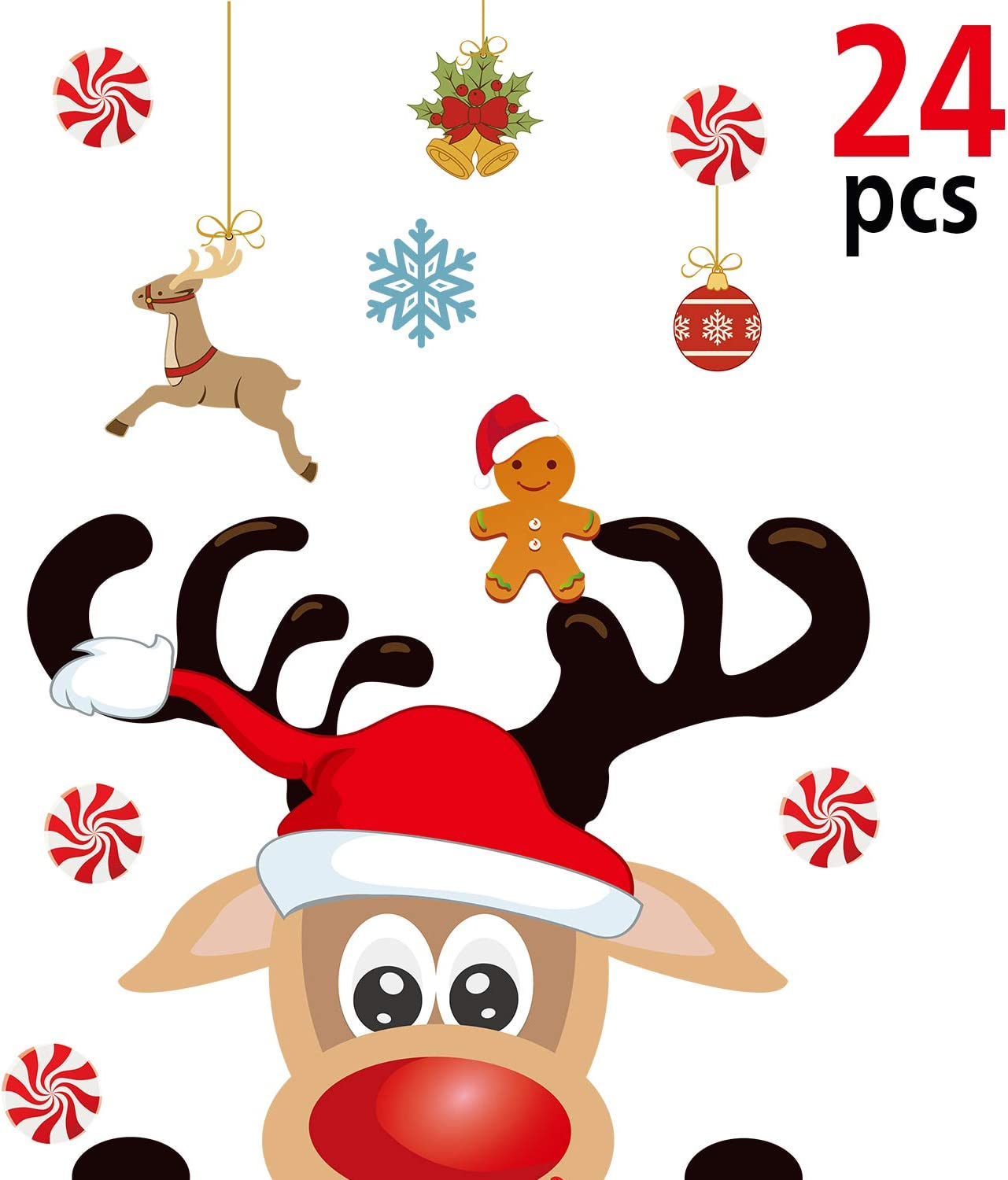 Blulu Christmas Party Decoration, Animated Christmas Fridge Magnet Set, Magnet Refrigerator Stickers Holiday Christmas Decorations for Fridge, Metal Door, Garage, Office (Reindeer Magnet, 24 Pieces)