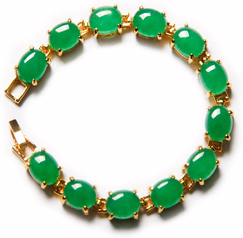 Pulsera de jade verde auténtica, chapada en oro de 18 quilates