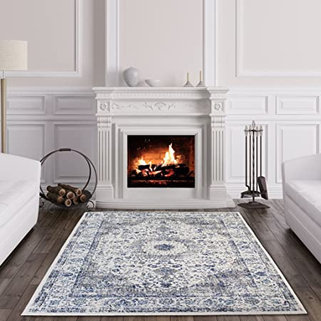 The Rug House Halcyon Nordic White Blue Traditional Border ...