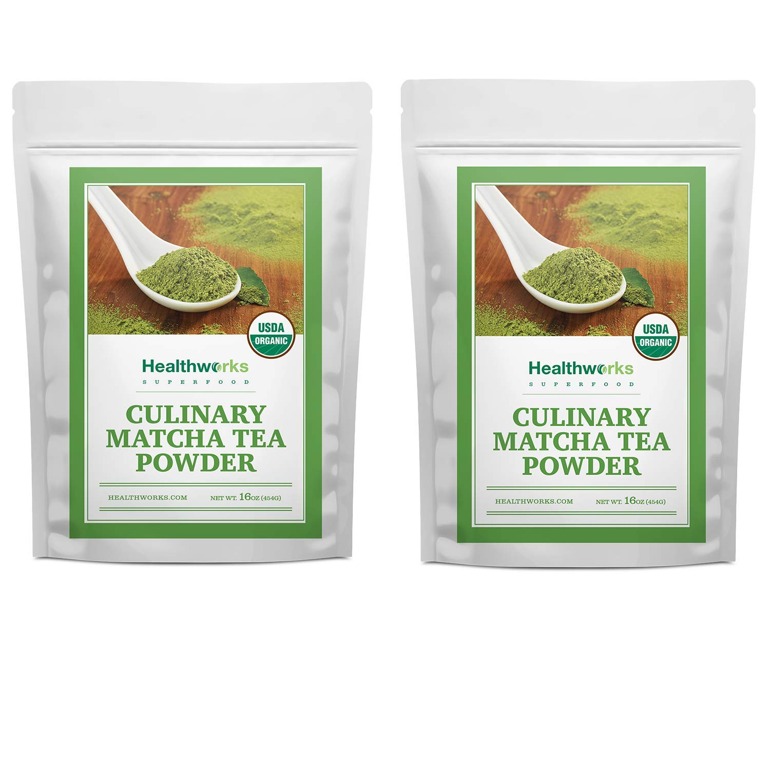 Healthworks Matcha Green Tea Powder Unsweetened (32 Ounce / 2 Pound) (2 x 1 Pound Bags) | Pure Certified Organic Premium Culinary Grade Extract | Keto, Vegan & Non-GMO | Smoothies & Lattes by Healthworks