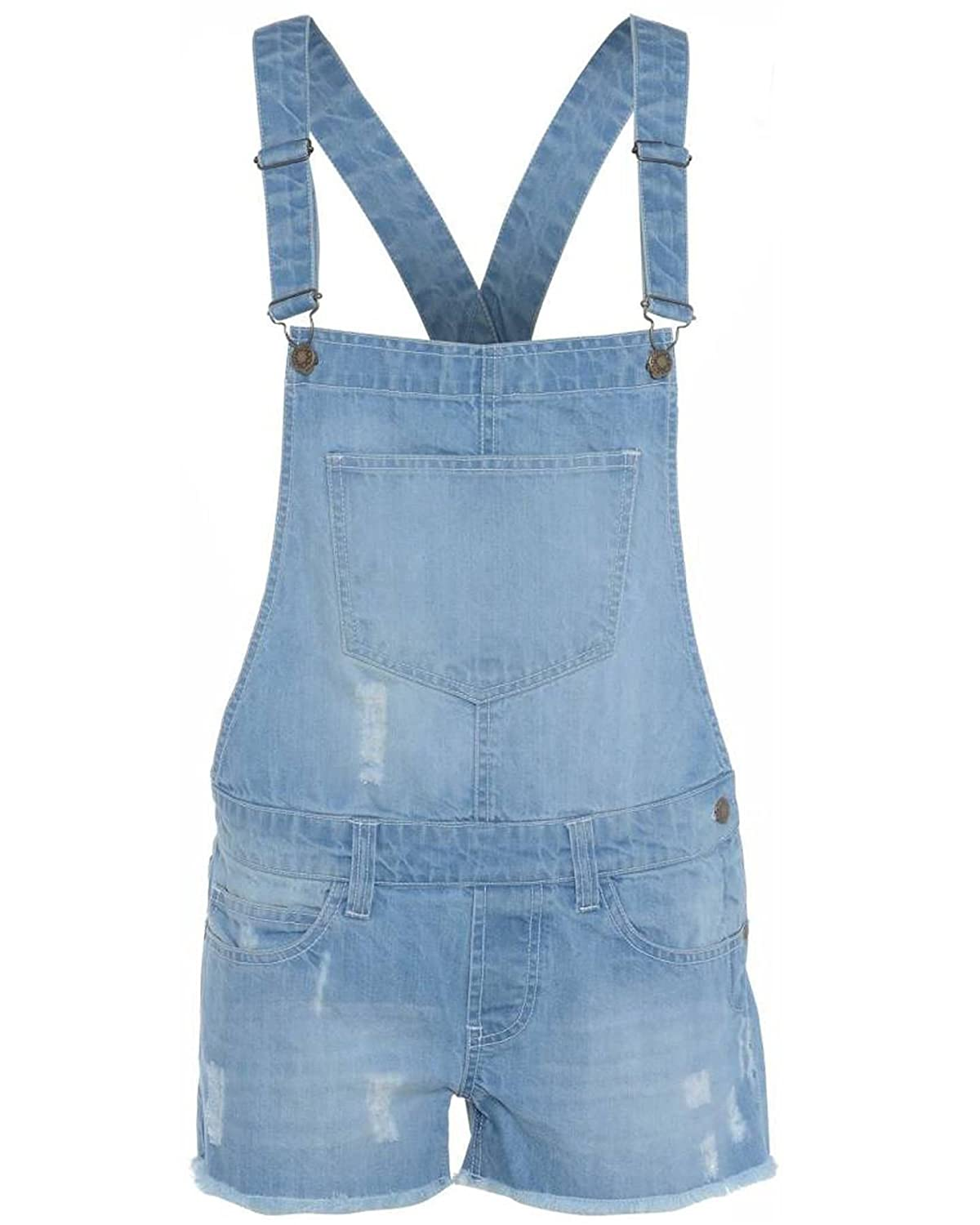 NEW KIDS GIRLS DENIM STRETCH LIGHT WASH PLAYSUIT JUMPSUIT DUNGAREE SHORTS