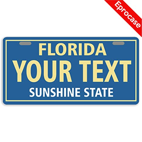 Florida Personalized License Plates >> Eprocase Custom Personalized License Plate Florida License Plate Cover Decorative Car Tag Sign Metal Auto Tag Novelty Front License Plate 2 Holes