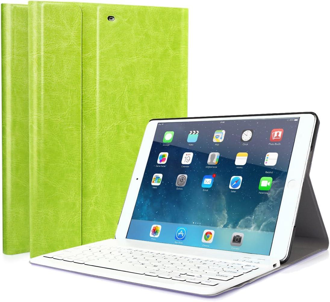 Funda con Teclado Extraíble Bluetooth 3.0 inalámbrico Español Layout para iPad 2018(A1893/A1954)iPad 2017 (A1822/A1823) iPad Air 2 (A1566 / A1567) iPad Air (A1474 / A1475 / A1476) iPad Pro 9.7 Verde