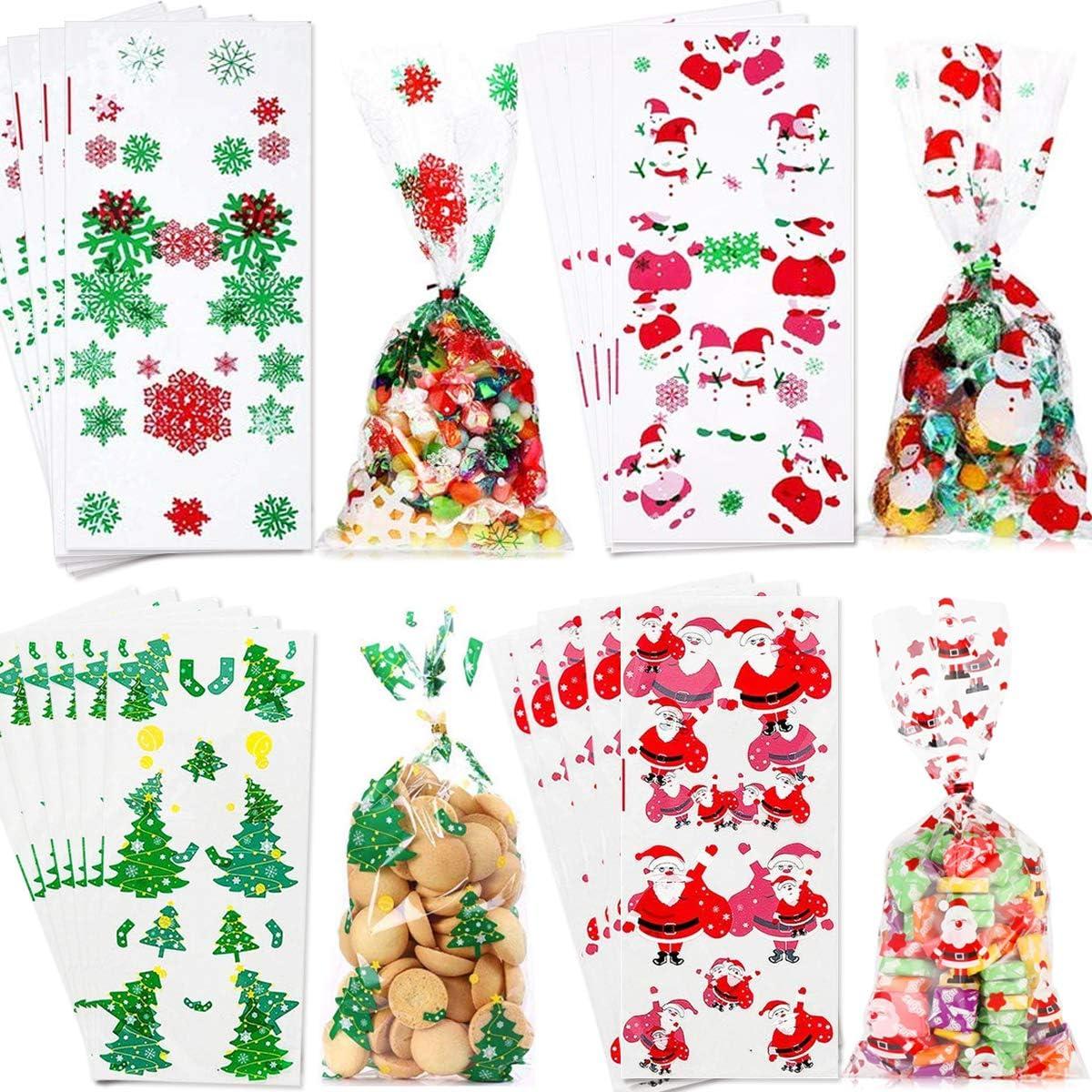 100 St/ück Weihnachten Klar Cellophanbeutel und 100 Twist Krawatten f/ür Bonbon Candy Lollipop Sticks YEFAF Weihnachten S/ü/ßigkeiten T/üten Geschenke Pl/ätzchen