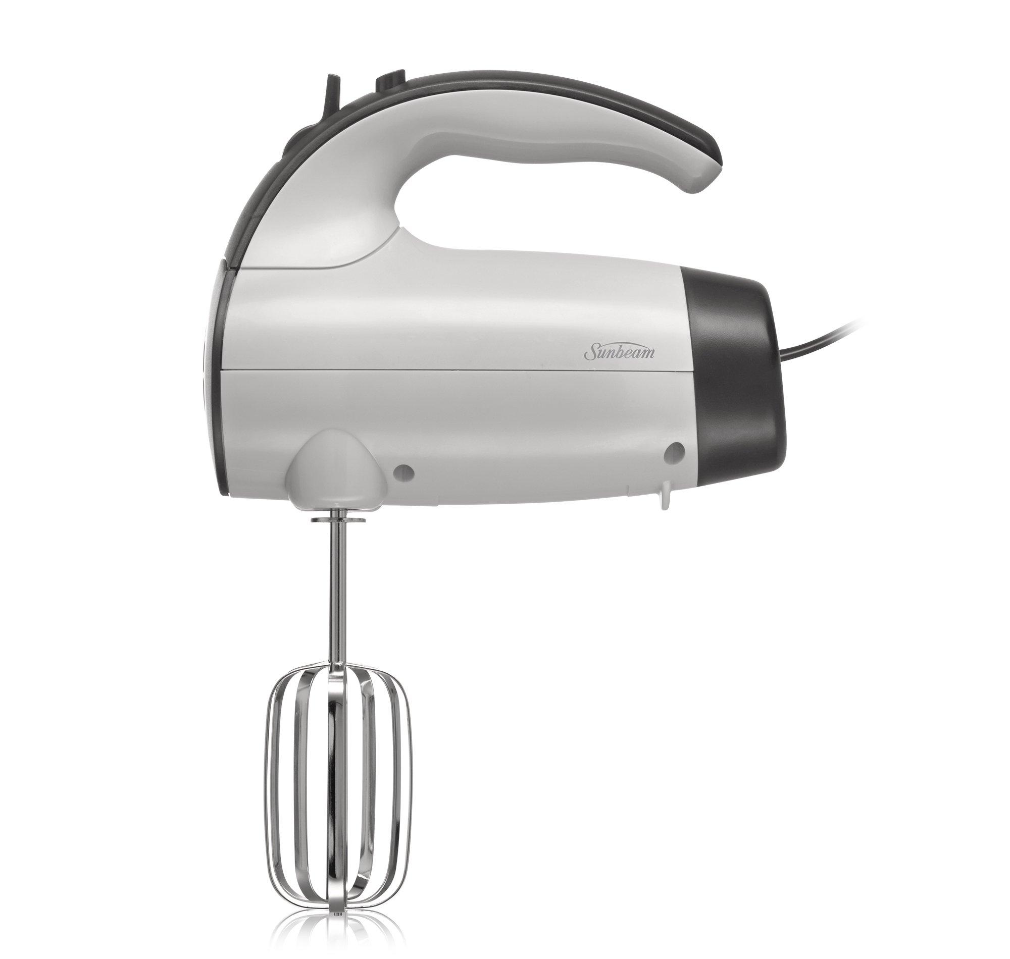 Sunbeam 2525 220-Watt 6-Speed Retractable Cord Hand Mixer, White/Grey - 002525-000-000 by Sunbeam