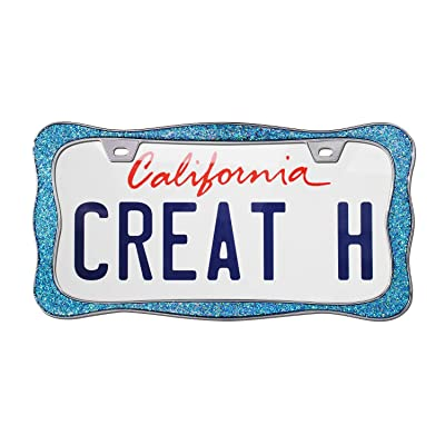 creathome 3D Shining License Plate Frame, Chrome with Shining Blue Chunky Gliter, Pure Zinc Alloy Metal: Automotive