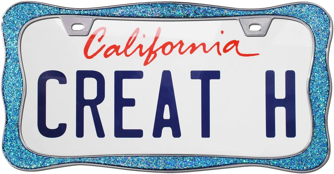 Creathome 3D Shining License Plate Frame Pure Zinc Alloy Metal Black Powder Coated with Chunky Gliter