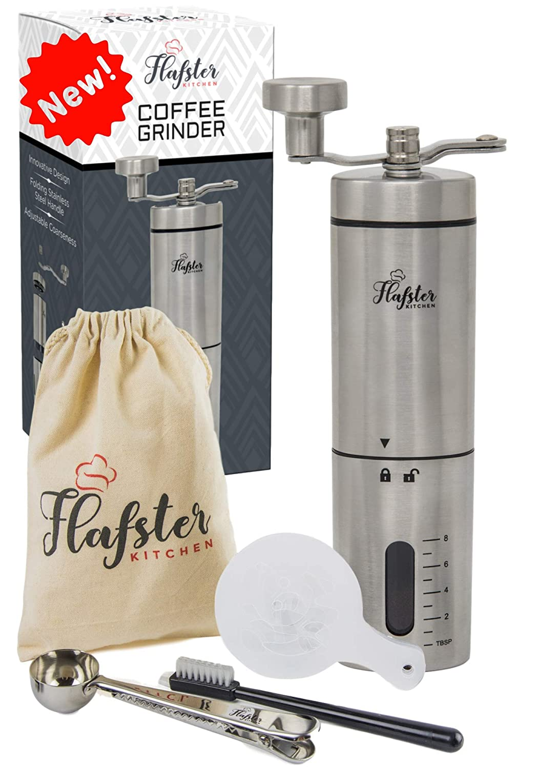 Manual Coffee Grinder- Hand Conical Coffee Bean Grinder With Ceramic Mechanism by Flafster Kitchen- Portable Stainless Steel Burr Coffee Mill With Folding Stainless Steel Handle - Accessories