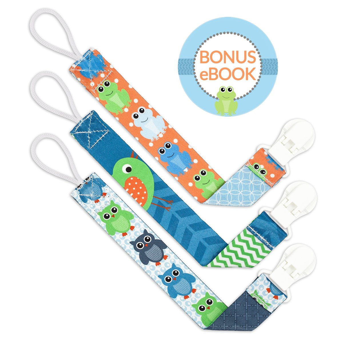 Liname Dummy Clip for Boys with BONUS eBook - 3 Pack Gift Packaging - Premium Quality & Unique Design - Dummy Clips Fit ALL Dummies & Soothers - Perfect Baby Gift ju43