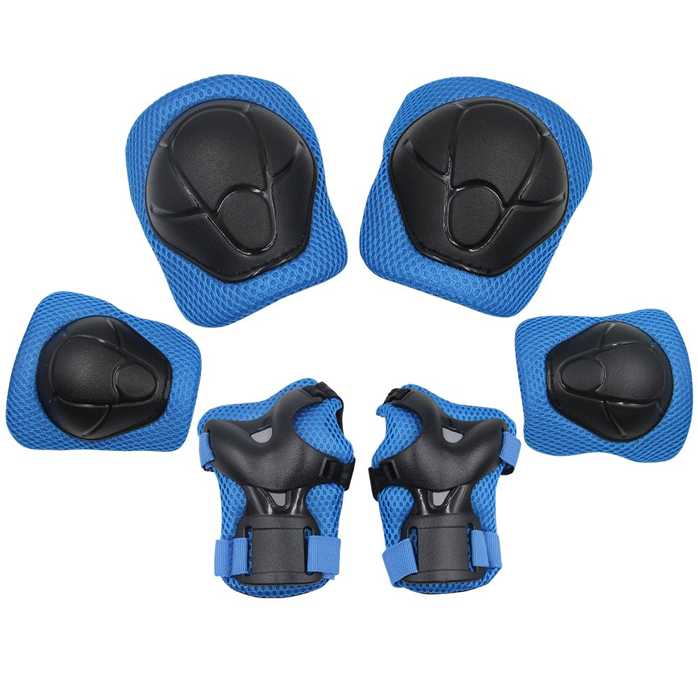 Sports Protective Gear Safety Pad Safeguard (Knee Elbow Wrist) Support Pad Set Equipment for Kids Roller Bicycle BMX Bike Skateboard Protector Guards Pads,(Blue)