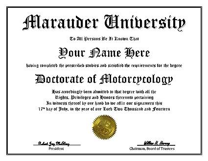 marauder university degree custom novelty diploma fake doctorate degree certificate gag gift