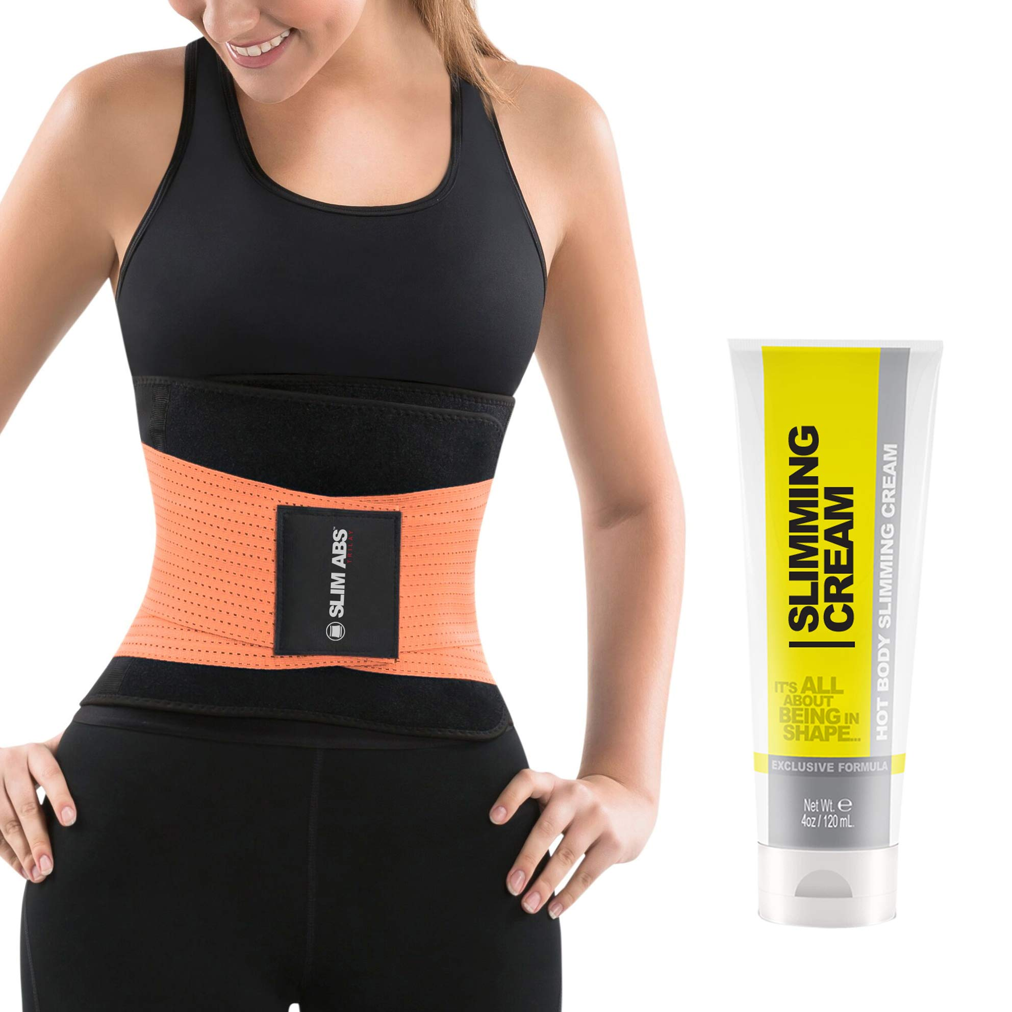 Slim Abs Waist Trainer Sweat Belt with Slimming Cream - Waist Trimmer for Women and Thermogenic Workout Gel (Orange, S/M) by Slim Abs Trilay (Image #1)