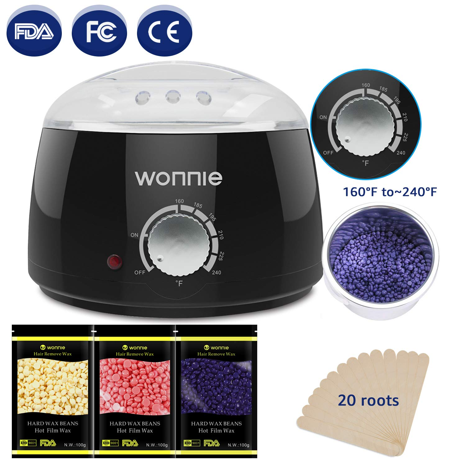 WONNIE New Upgrade Wax Warmer Hair Removal Home Waxing Kit Electric Pot Heater for Rapid Waxing of All Body, Face, Bikini Area, Legs with 3 Flavor Hard Wax Beans & 10 Wax Applicator Spatulas