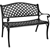 GIODIR Outdoor Patio Garden Bench All-Weather Cast Aluminum Loveseats Park Yard Furniture Porch Chair Work Entryway…