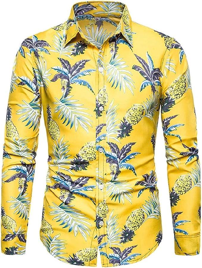 SXZG Camisa de Manga Larga con Estampado Floral Informal de La Nueva Serie de Flores Hawaianas Holiday Wind Flower para Hombre: Amazon.es: Ropa y accesorios
