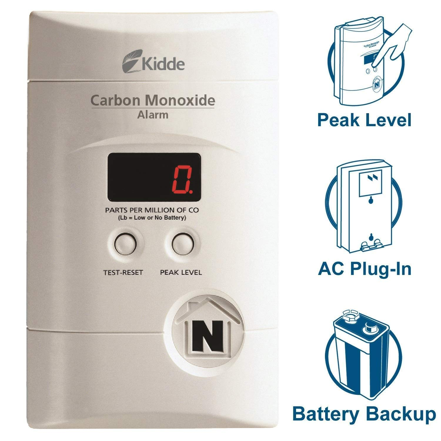 Nighthawk AC Plug in Operated Carbon Monoxide Alarm with Digital Display KN COPP 3