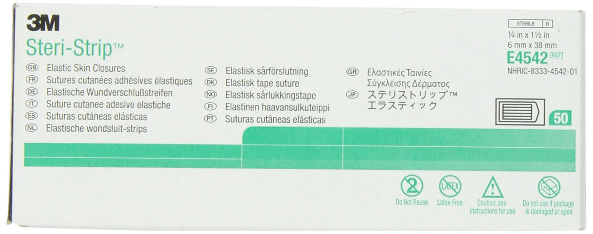 3M Steri-Strip Elastic Skin Closures E4542, 50 Strips