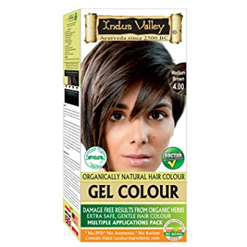 Indus Valley Permanent Gel Hair Color Medium Brown 4 0 Upto 4 Applications With Orange Aroma