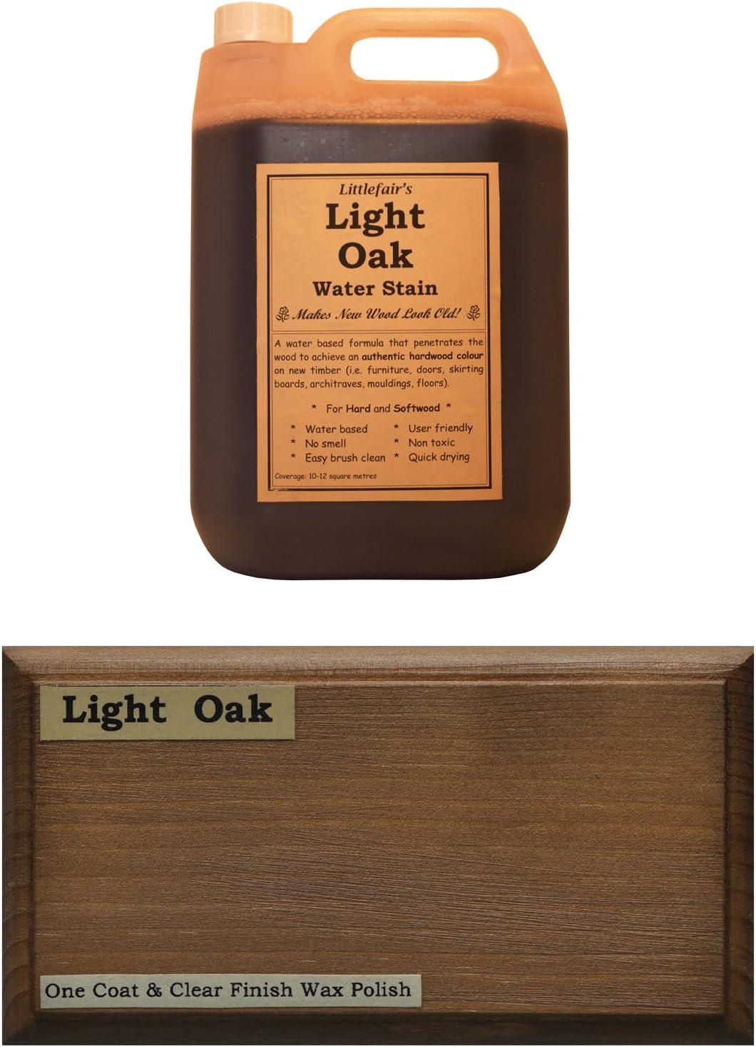 Tinte para madera a base de agua de Littlefairs, respetuoso con el medio ambiente, Roble claro, 2.5ltr