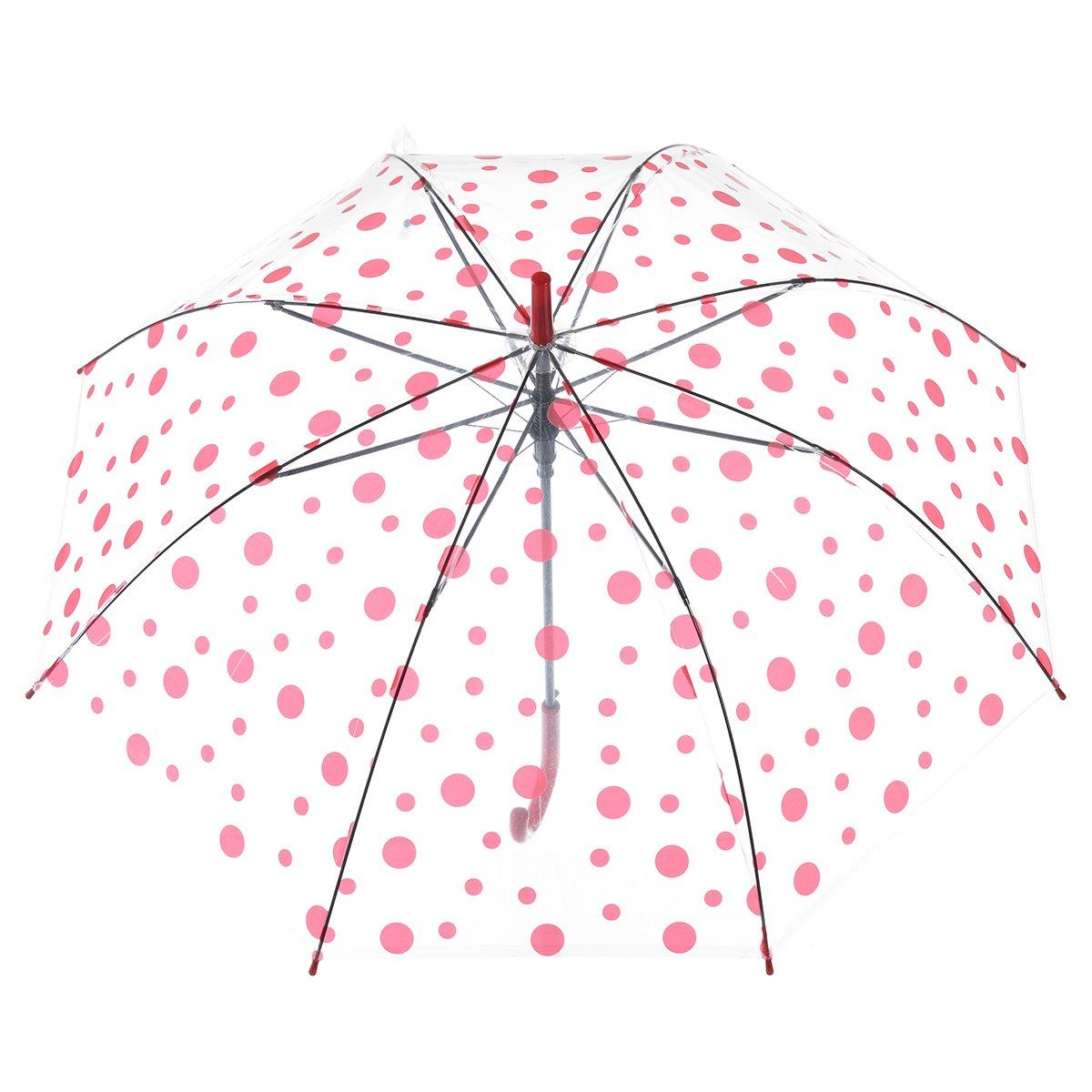 Remedios automático abierto claro transparente los lunares palillo paraguas lluvia,Rosa profundo: Amazon.es: Equipaje