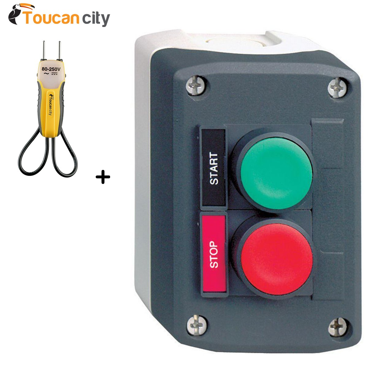 Toucan City - Tensiómetro y Schneider Eléctrico (22 mm, Interruptor de Botón de Encendido/Apagado, Estación de Control XALACS2): Amazon.es: Electrónica