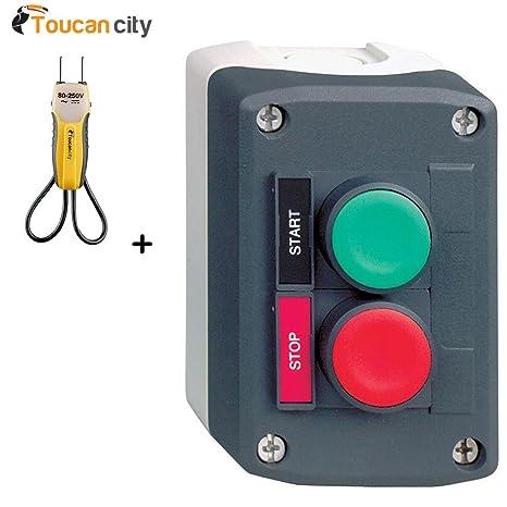 Toucan City - Tensiómetro y Schneider Eléctrico (22 mm, Interruptor de Botón de Encendido