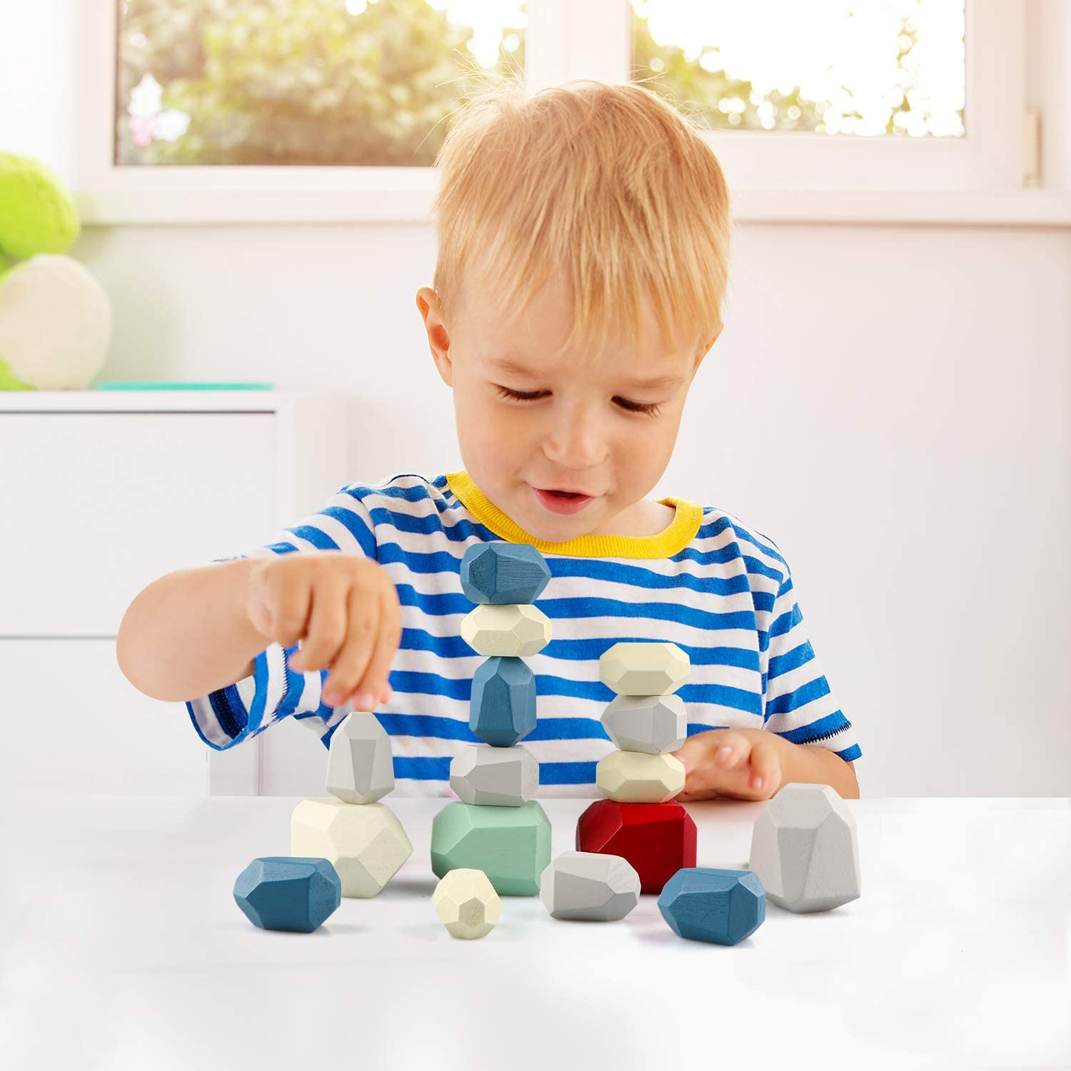 Gemileo 16PCS Colorful Stone Stacking Blocks for Kids Wooden Building Blocks Set for Toddlers 1-3 Baby Rock Stone Sorting Blocks Game Lightweight Preschool Learning Toys for Girls Boys