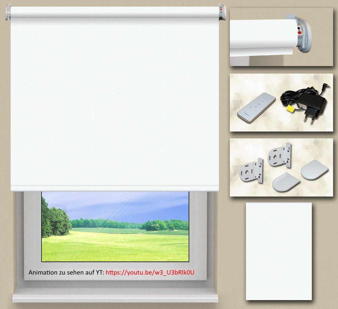 Akkurollo auf Maß Verdunklungsrollo (batteriebetriebenen Motor)   Stoff  Weiß(RO022)   Systemfarbe  Weiß   Montage  Wand-, oder Deckenmontage   Breite 230,1 bis 240cm x Höhe 230,1 bis 240cm