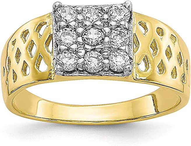 10k Yellow Gold Rhodium Plated Baby Ring Fine Jewelry Ideal Gifts For Women