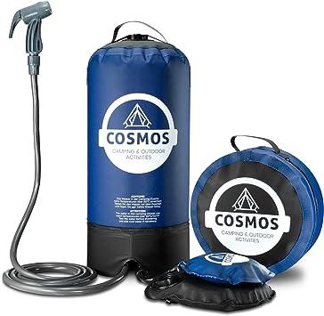 Ducha portátil de camping de Cosmos con bomba de agua de pie, bolsa de transporte, lista de comprobación de camping – Perfecto para camping, jardín, viajes, perros – 11 litros, azul: Amazon.es: