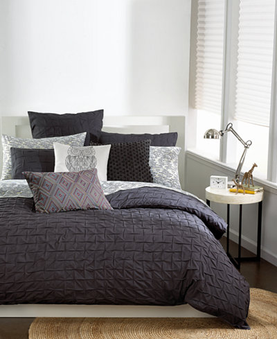Bar III Box Pleat Carbon King Duvet Cover - Bedding Collections - Bed & Bath - Macy's
