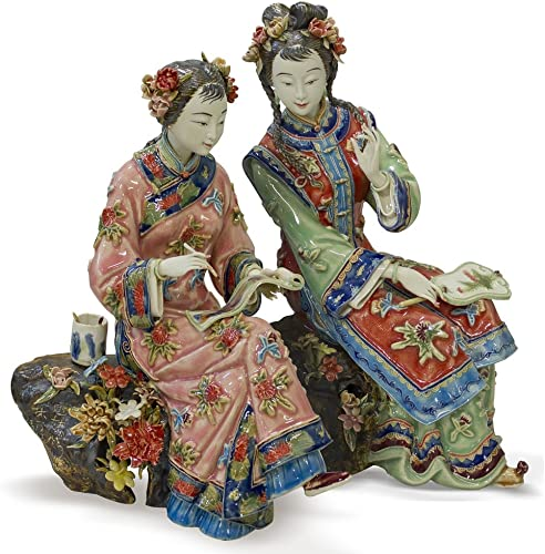 ChinaFurnitureOnline Chinese Porcelain Doll, Two Maidens Writing Poetry Motif 2 Pieces Set