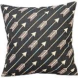 "Leaveland Cotton Linen Decorative Throw Pillow Case Cushion Cover (White Arrows) 18 ""X18"""
