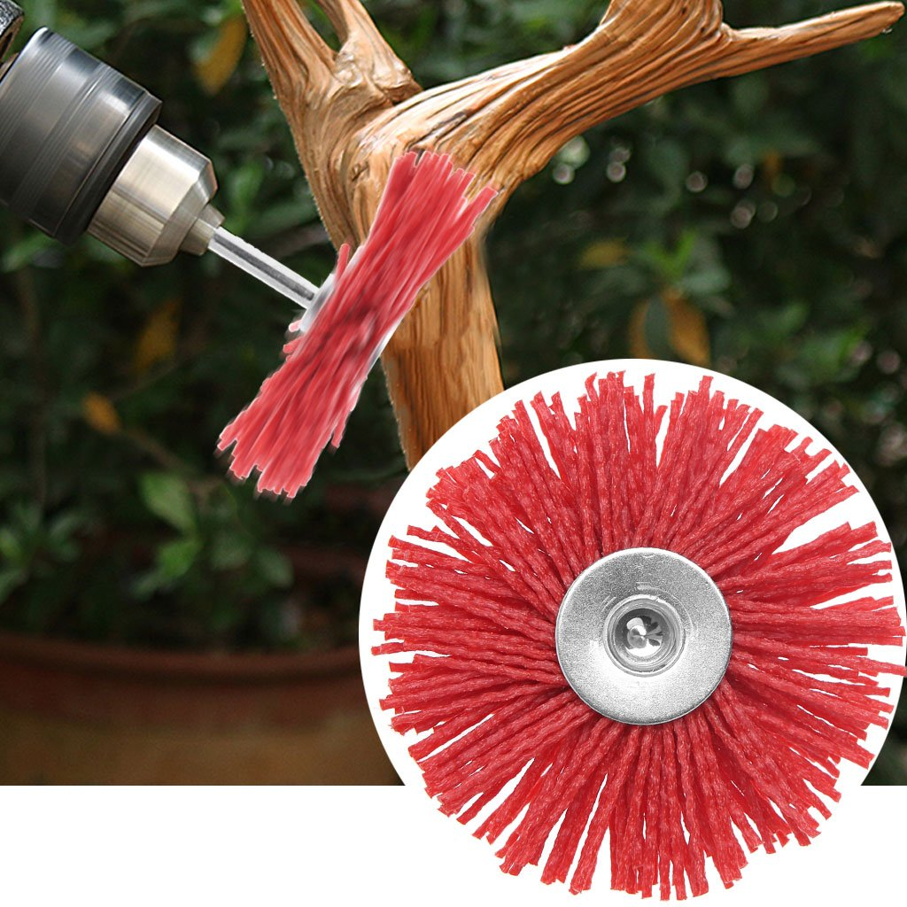 Red Nylon Deburring Abrasive Steel Wire Brush Head Polishing Wheel Polishing Shraping Buffing Brush