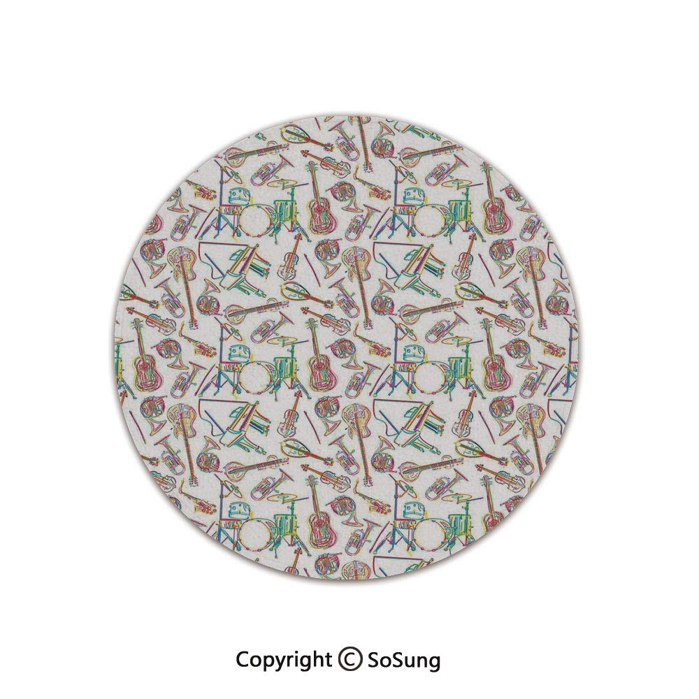 Jazz Music Decor Round Area Rug,Colorful Stylized Illustration of Modern Music Patterns Collection Punk Pop Violin Decor,for Living Room Bedroom Dining Room,Round 3'x 3',Multi by SoSung