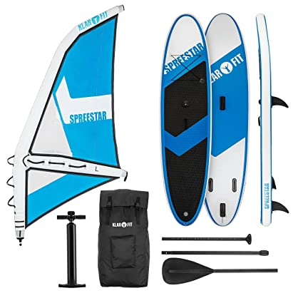 KLAR FIT Spreestar 320 Tabla de pie Hinchable (Paddleboard, Paddle Surf, Tabla Sup 320 x 12 x 81 cm, Bomba Aire, Pala, Correa Seguridad, Mochila ...