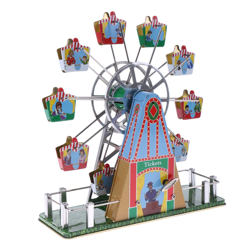 Dovewill Retro Wind up Spinning Ferris Wheel with Music Movement Clockwork Metal Tin Toy Collectible Gift by Dovewill (Image #1)