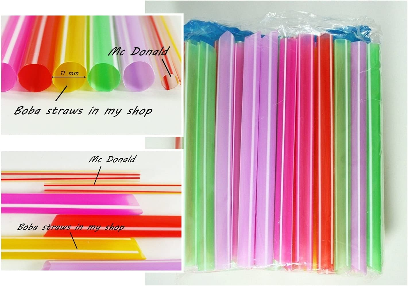 Lot of 50 Extra Wide Stainless Steel Boba Smoothie Straws