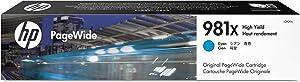 Hewlett Packard L0R09A 981X XL Cyan OEM Pagewide Ink Cartridge Ridge