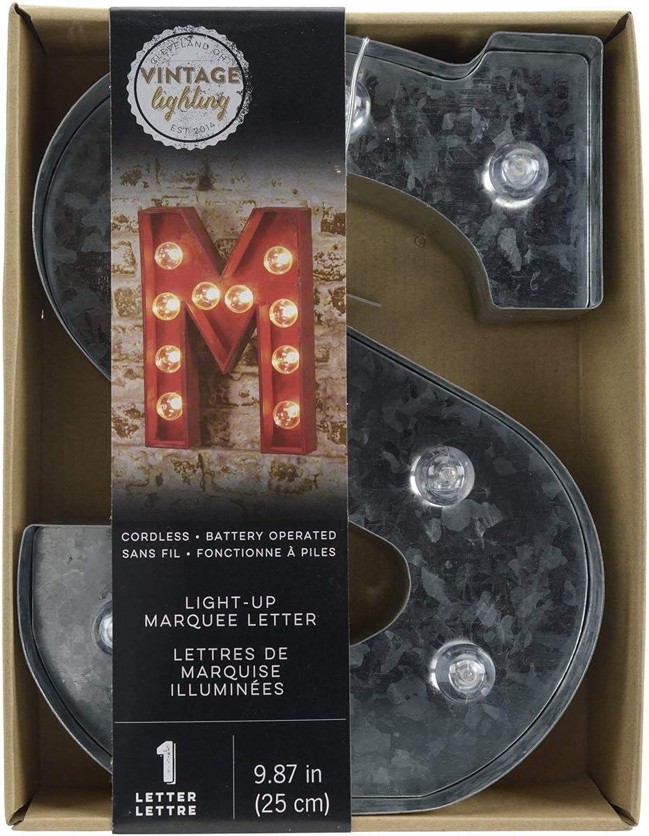"F-9.87/"" Tall Galvanized Finish Darice Silver Metal Marquee Letter"