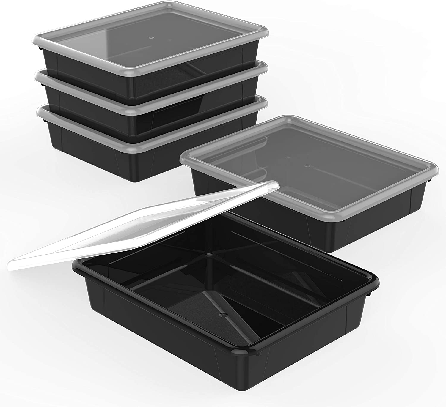 Storex Flat Storage Tray with Lid, Letter Size, 10 x 13 x 3 Inches, Black, 5-Pack (62535U05C)