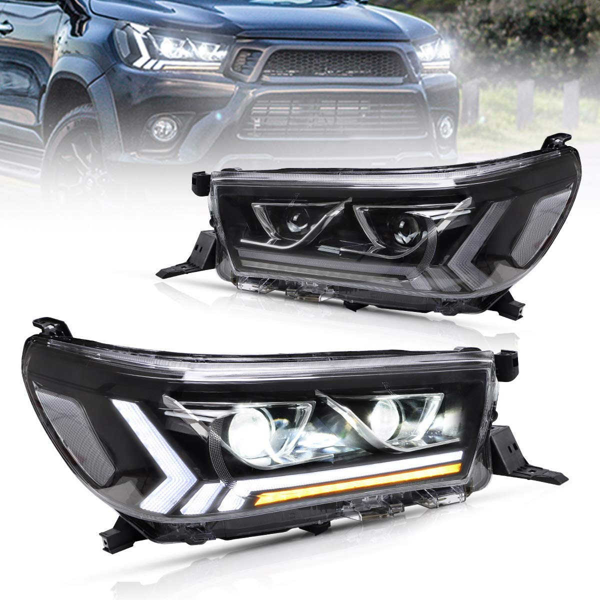 VLAND LED Headlights Compatible with Hilux Revo Vigo 2015 2016 2017 2018 2019 with Sequential Turn Signal YAA-VG-2019A