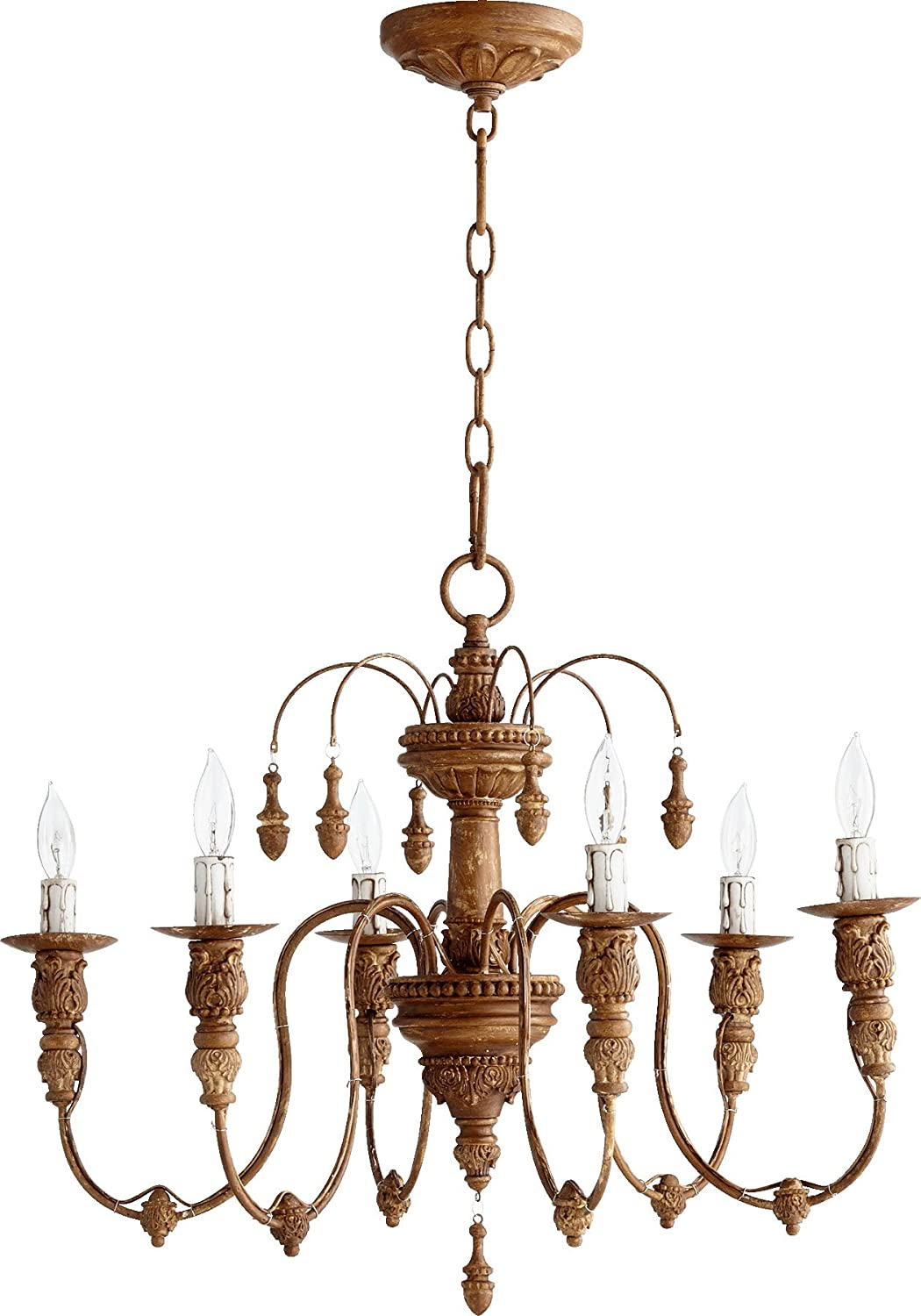 Quorum lighting 6316 6 94 salento 1 tier chandelier lighting 6lt 120 watts french umber amazon com