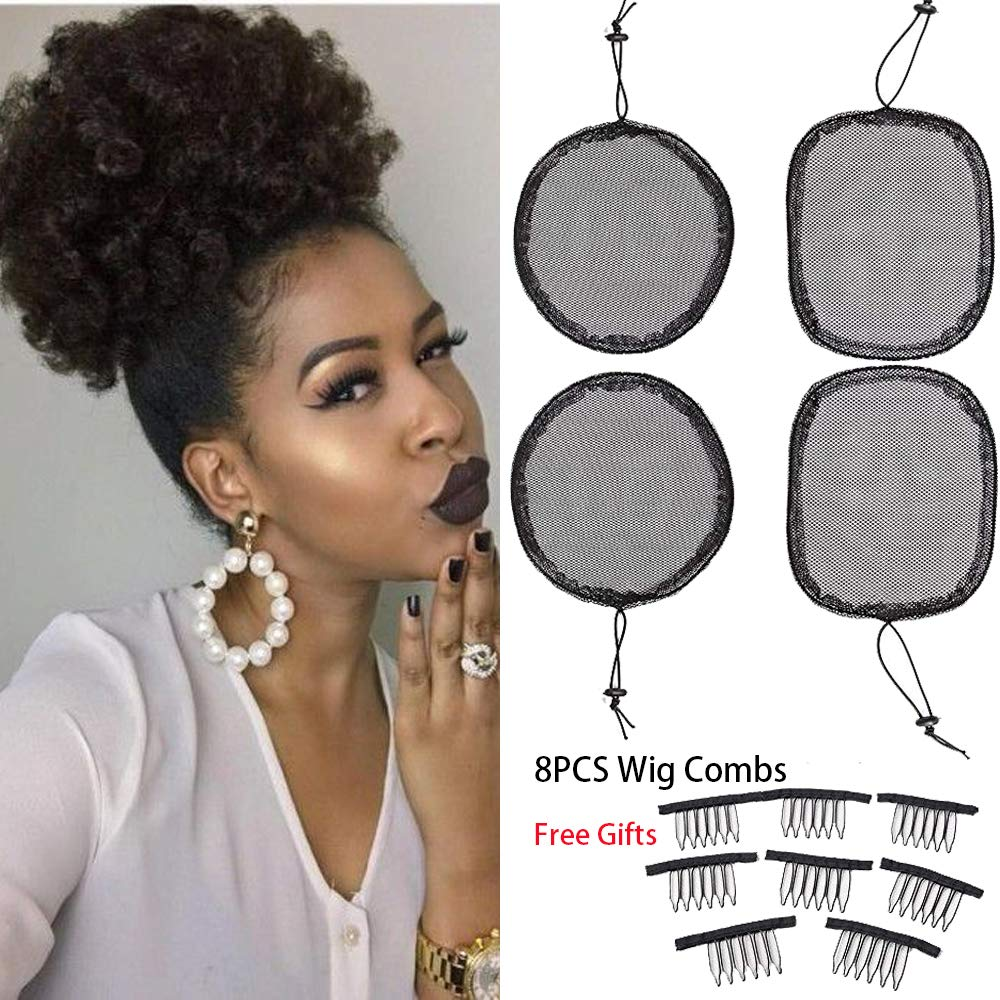 4 PCS Ponytail Net Drawstring Base Net Wig Liner Caps For Making Afro Hair Bun Ponytail Net with 8 PCS Combs Black Guleless Hairnet Afro Hair Bun Weaving Net For Women Girls by huaju