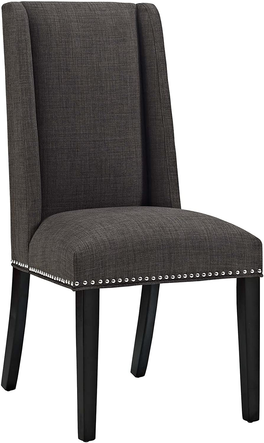 Modway MO- Baron Modern Tall Back Wood Upholstered Fabric, Dining Chair, Brown