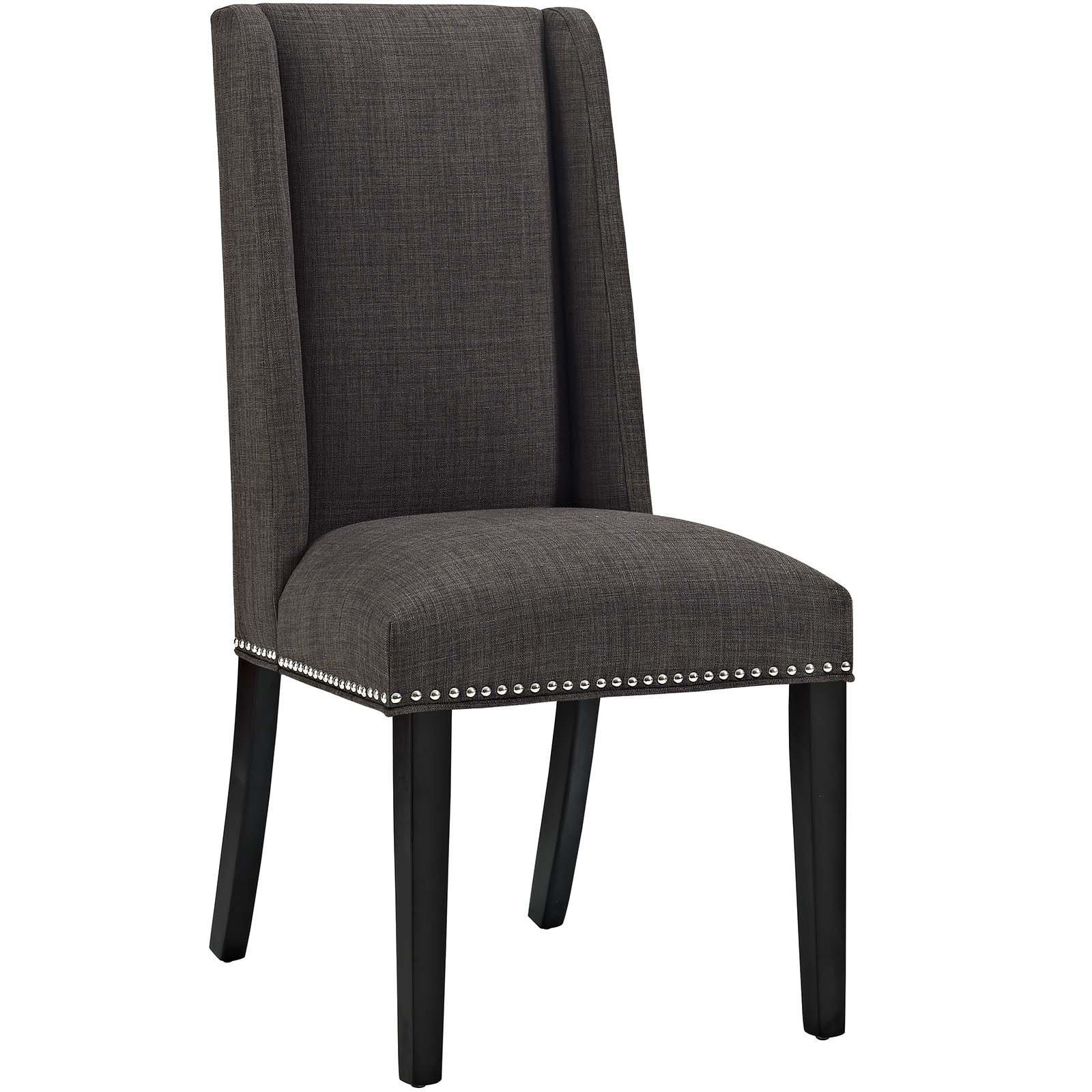 Modway Baron Upholstered Fabric Modern Tall Back Dining Parsons Chair Nailhead Trim Wood Legs in Brown