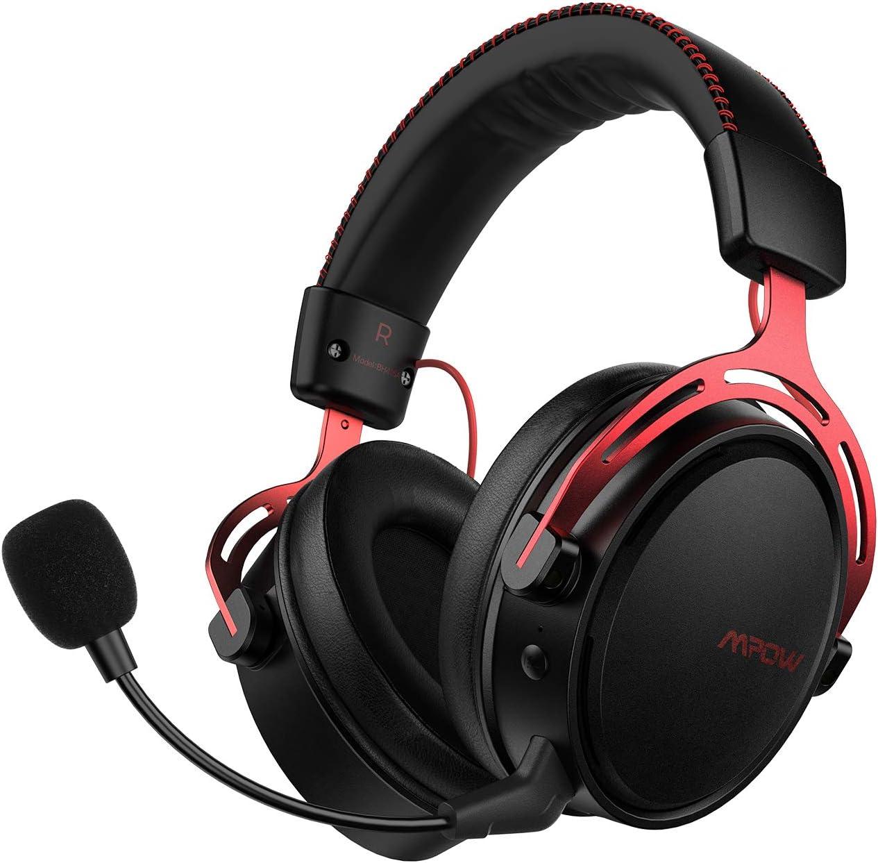 Mpow Auriculares Gaming para PS4, PC, Xbox One, Estéreo Cascos Inalámbricos para Juegos con Micrófono Desmontable con Cancelación de Ruido,Espuma de Memoria, Sonido Envolvente, Transmisor USB Incluido